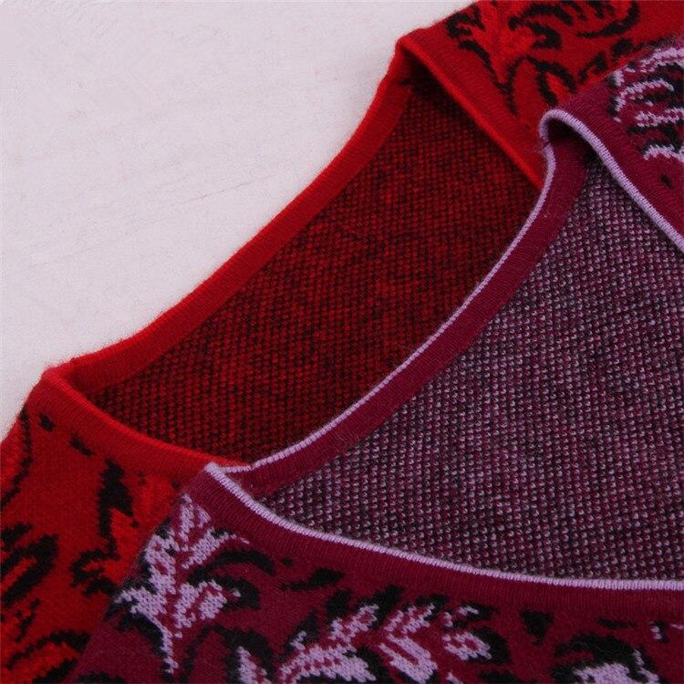 Elegante Cachemira Chaleco Grueso De 100 Suéter Sin Punto S Red Red Mangas Color Mujeres Cabra rose 5xl Rojo Moda Jacquard 2 t1Pq5Pnpw