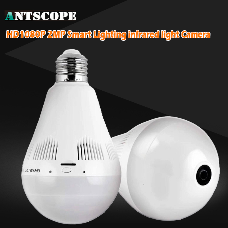 Antscope 1080P HD 2MP Bulb Light Wireless IP Camera Wi-FI FishEye 360 Degree Panoramic Mini Lamp Wifi Camera IR Home Security нивелир ada cube 2 360 home edition a00448