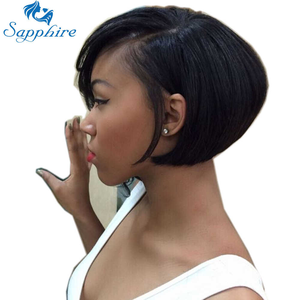Short Bob Wig Brazilian Straight Virgin Remy Hair Non Lace Front Human Hair Wigs Sapphire Non Lace Frontal Wig For Black Women