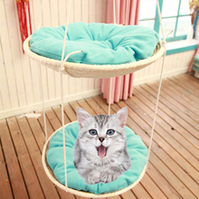 Straw cat hammock puppy crawling kitten nest cat tree jump grab cat bed sling basket house window hammock cushion-in Cat Beds & Mats from Home & Garden