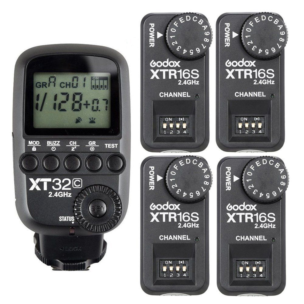 купить Godox 2.4G 1/8000s Flash Trigger XT32C + 4pcs XTR-16S Receivers for V860 II V850 по цене 5779.79 рублей