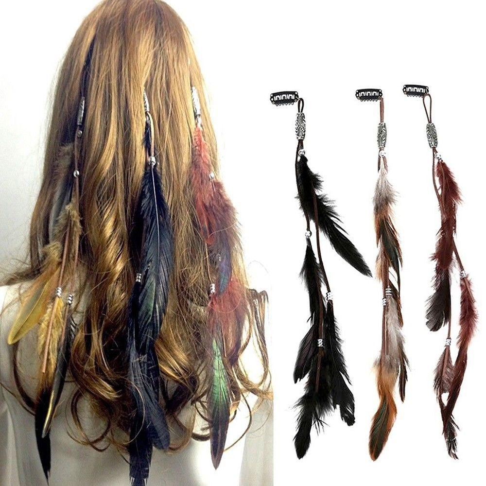 Mulheres bandana de penas novidade headdress tribal corda de cabelo headpieces hippie festa 1 pc moda nova headwear