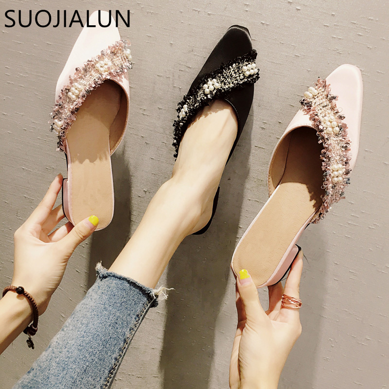 SUOJIALUN 2018 Women Slippers Slip On Mule Shoes Sexy Shallow Women Flat Heel Shoes Fashion Silk Causal Sandals Outside Slides
