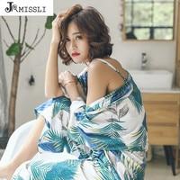 JRMISSLI Women Cotton Pajamas Set 3 Piece Set Sleepwear Lounge Pyjamas Floral Print Tops And Pants Sets Female Pajamas
