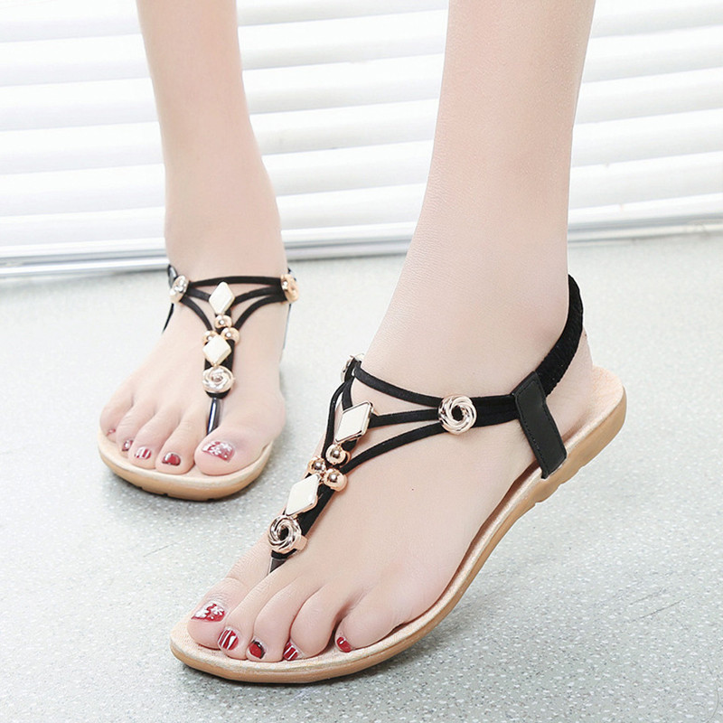 2018 Women Sandals Flat Summer Shoes Fashion Beach Shoes Ladies Sandals Gladiator Flats Heel Black phyanic 2017 gladiator sandals gold silver shoes woman summer platform wedges glitters creepers casual women shoes phy3323