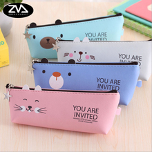 1X Creative Fashion PU cartoon cute pet oblique School Pencil Case Cute Pen Bag Kawaii Stationery Pouch Office Supplies