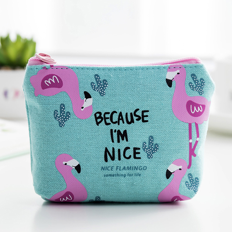 Canvas Multi-function Mini Bag Flamingo Cartoon Casual Portable Coin Wallet Ladies Purse And For Card Keys Bag Small Pouch