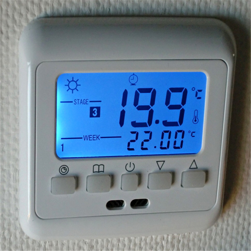 New Underfloor Heating Thermostat with Blue Backlight LCD Keys Weekly Programmable Room
