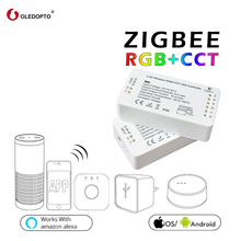 GLEDOPTO ZIGBEE controller zll light link 3.0 RGB+CCT led strip dc12-24v smart app control work  with Amazon alexa