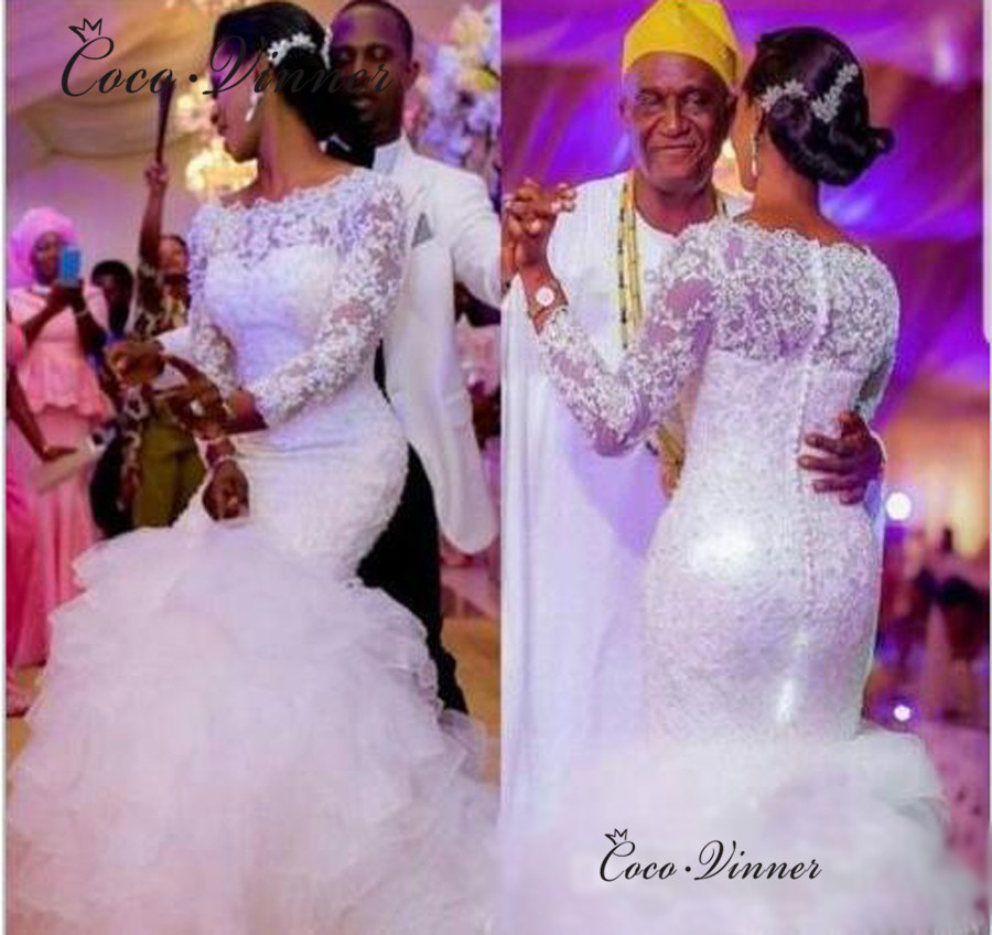 Boat Neck Tassle Tail Tiered Mermaid Wedding Dresses Africa New 2020 Long Sleeve Crystal Beading Lace Wedding Dress W0475