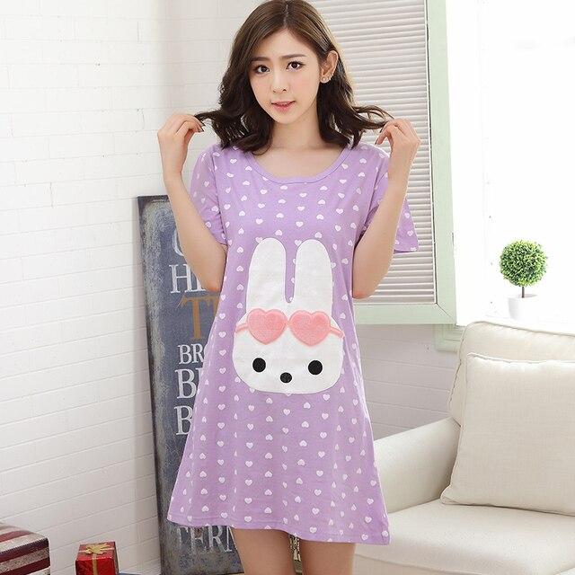 d12a11b627f6 Summer Cotton Polka Dot Dress Women s Nightgowns Sleepshirts Cartoon  Nightdress Girl Sleepwear Pyjamas Women Lounge Fashion