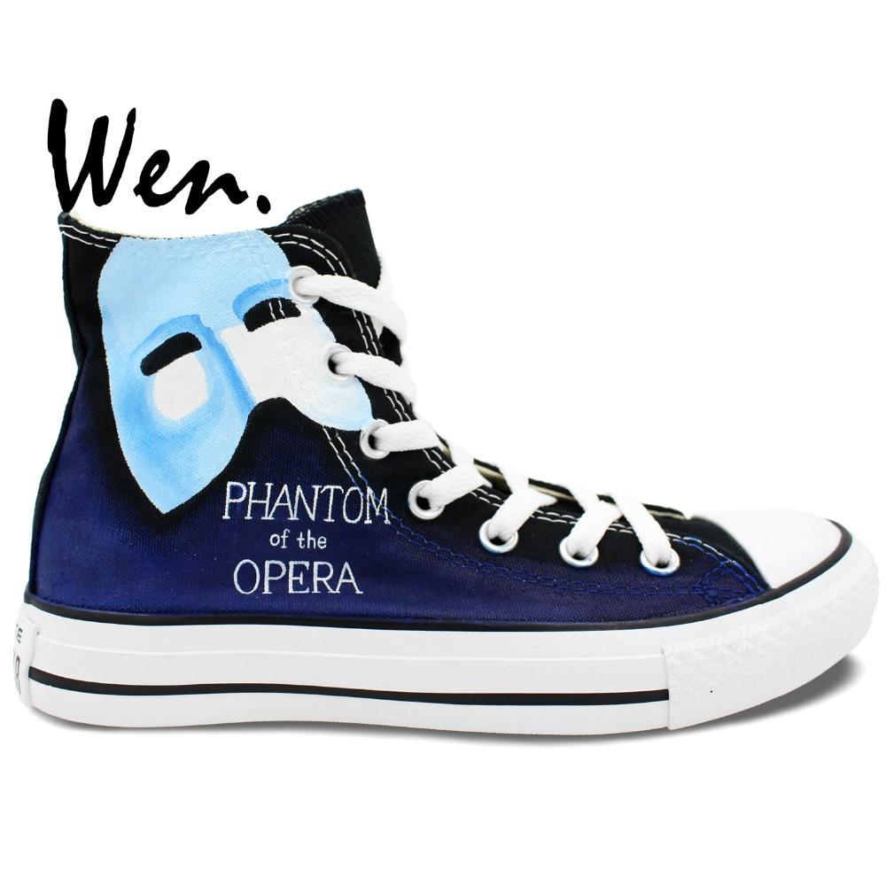 ФОТО Wen Blue Design Custom Hand Painted Shoes Design Custom Phantom Of The Opera Men Women's High Top Canvas Sneakers