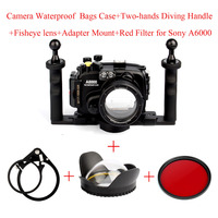 Waterproof Camera Housing Bags Case for Sony A6000 With 16 50mm Lens + Fisheye Lens+Adapter Mount+Two hands Handle+Red Filter