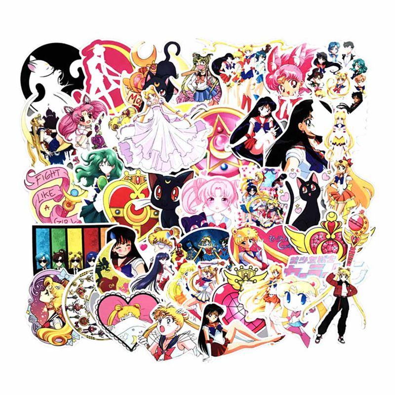 DiscountHEH 75Pcs/pack Anime Sailor Moon Cartoon Girl Scrapbook Decor PVC