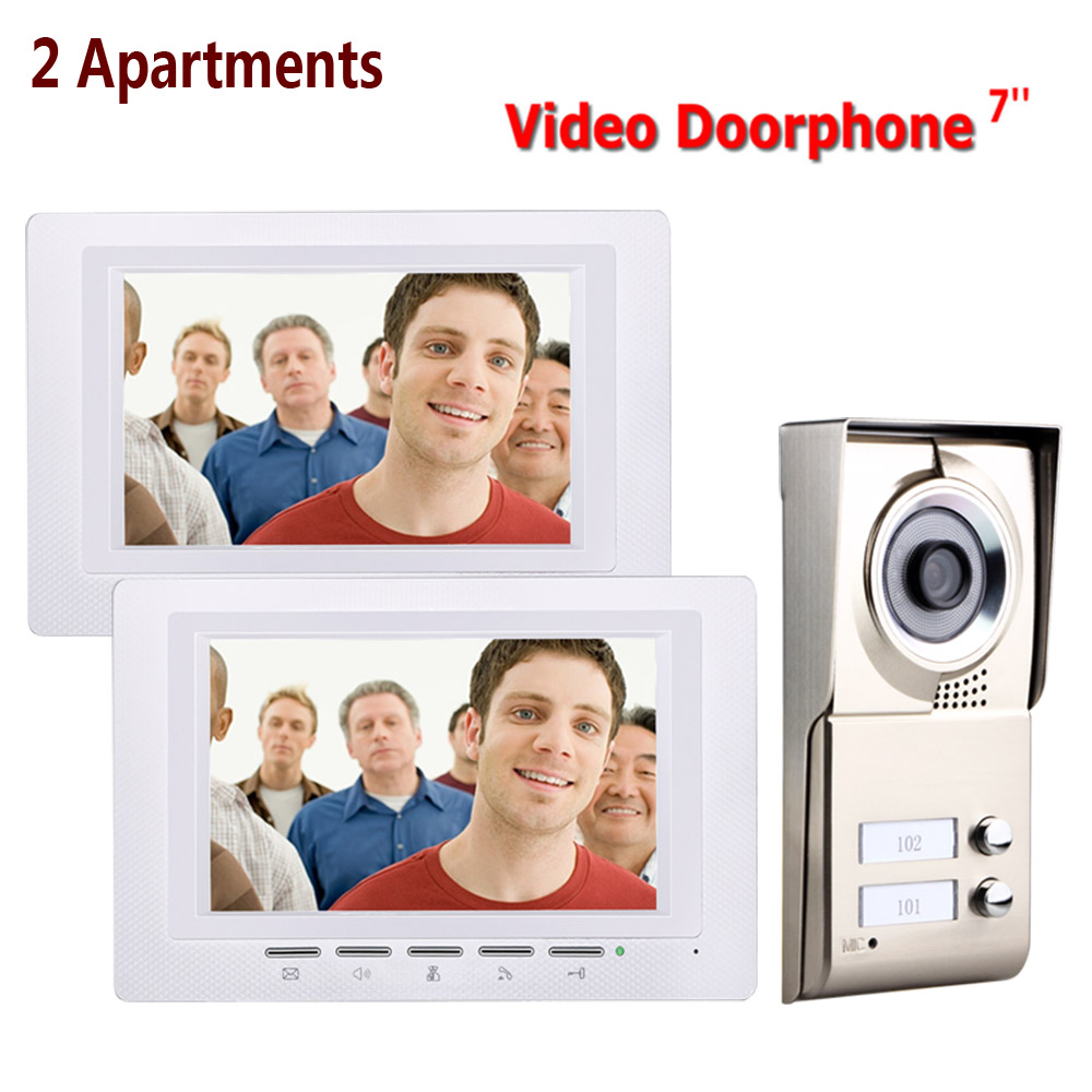 7inch 2 Apartments Video Door Phone Intercom System IR-CUT HD 1000TVL Camera Doorbell Camera With 2 Button 2 Monitor Waterproof