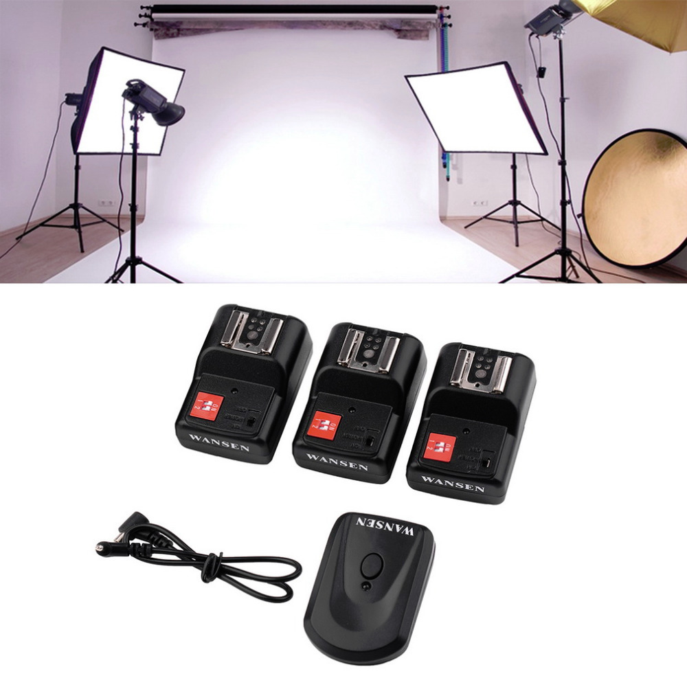 Universal 4 Channels Transmitter Wireless Radio Flash Trigger Set with 3 PT-04GY Receivers Camera PC Sync Cord for Studio Flash wansen pt 04gy universal 1 to 3 3 receivers wireless flash trigger for nikon canon black