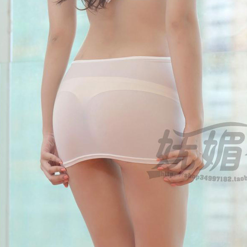 Sexy Ice Silk Tight Pencil Cute Skirt See Through Micro Mini Skirt Transparent Night Club Skirt Fantasy Erotic Wear Candy Colors