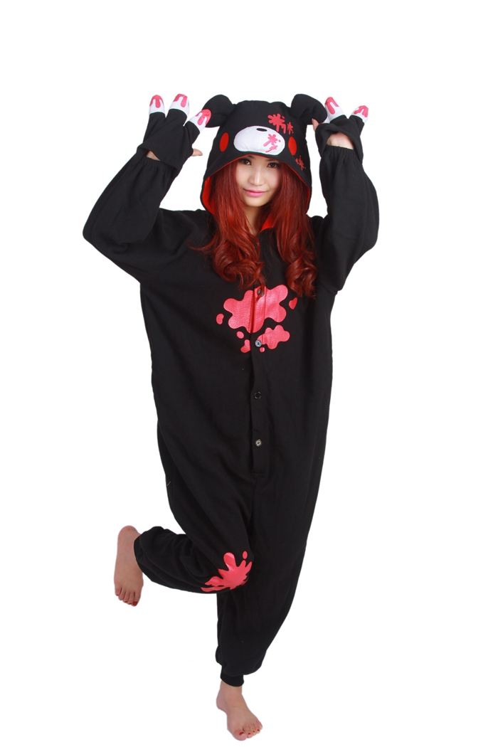 Unisex Fleece Adult Gloomy Black Bear Onesies Animal Cosplay Costume Halloween Xmas Pajama