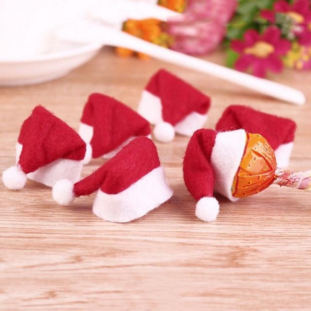 55d562e90e8a7 30Pcs Hot Sale Mini Santa Claus Hat Christmas Xmas Holiday Lollipop Top  Topper Cover Festival Decor Wholesale