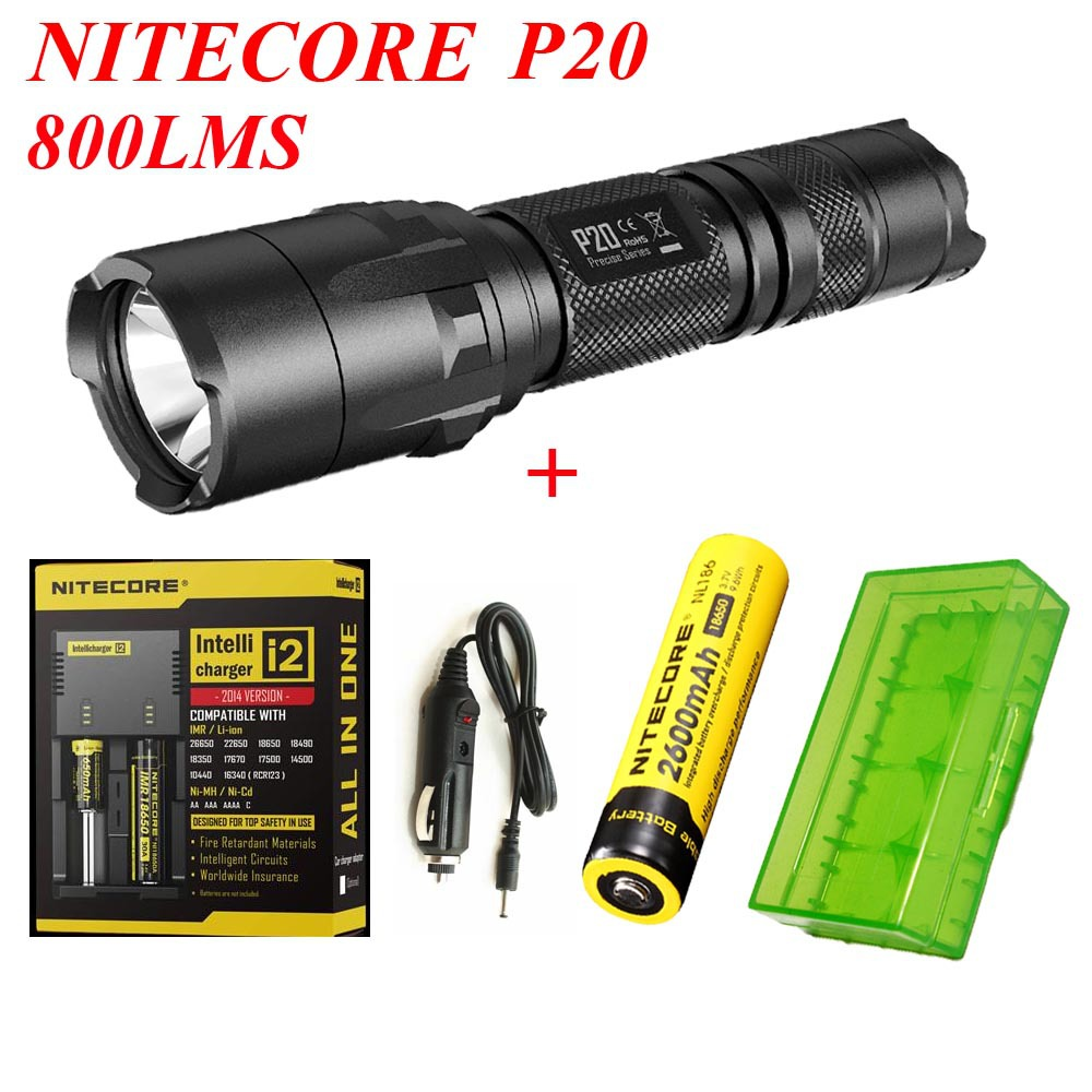 1Set Nitecore P20 Flashlight Cree XM-L2(T6) LED 800LM Tactical Torch+i2 Digicharger+NL186 Battery+Car Charger+18650 battery box 3800 lumens cree xm l t6 5 modes led tactical flashlight torch waterproof lamp torch hunting flash light lantern for camping z93