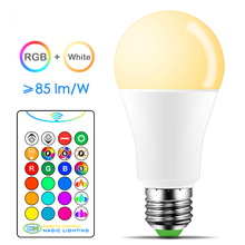 цена на E27 LED Bulb 10W 15W White + RGB16 Color LED Lamp  AC85-265V 110V 220V Changeable RGB Bulb Light With Remote Control + Dimmable