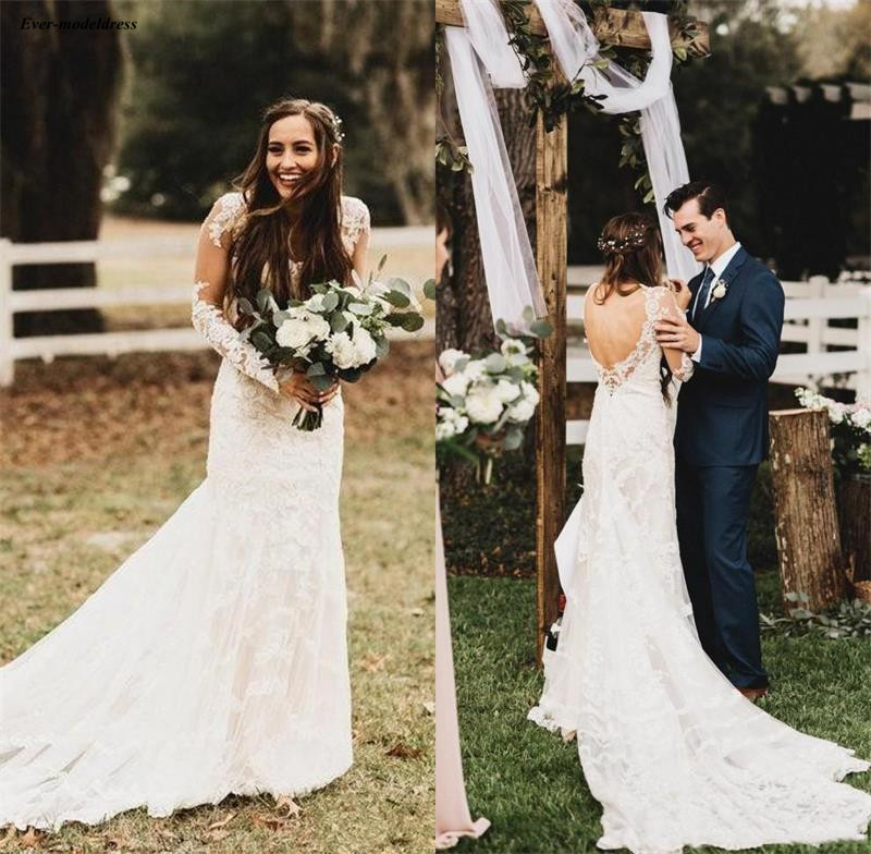Sheath Wedding Dresses 2019: 2019 Bohemian Long Sleeves Sheath Wedding Dresses Lace