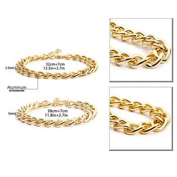 Punk Miami Cuban Choker Necklace Collar Statement Hip Hop Big Chunky Aluminum Golden Thick Chain Necklace Women Jewelry 5