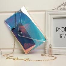 Fashion Transparent plastic handbag Rectangular ladies 2019 new chain small women mobile phone shoulder bag