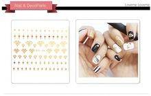 100pcslot dtl25 36 3d gold and silver letters star boat diamond bow nail stickers
