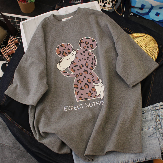 2019 New Mickey Mouse T-Shirt Women Cotton Leopard Print Loose Oversized Tshirt Korean Cute Tee Clothes Harajuku Kawaii Tops