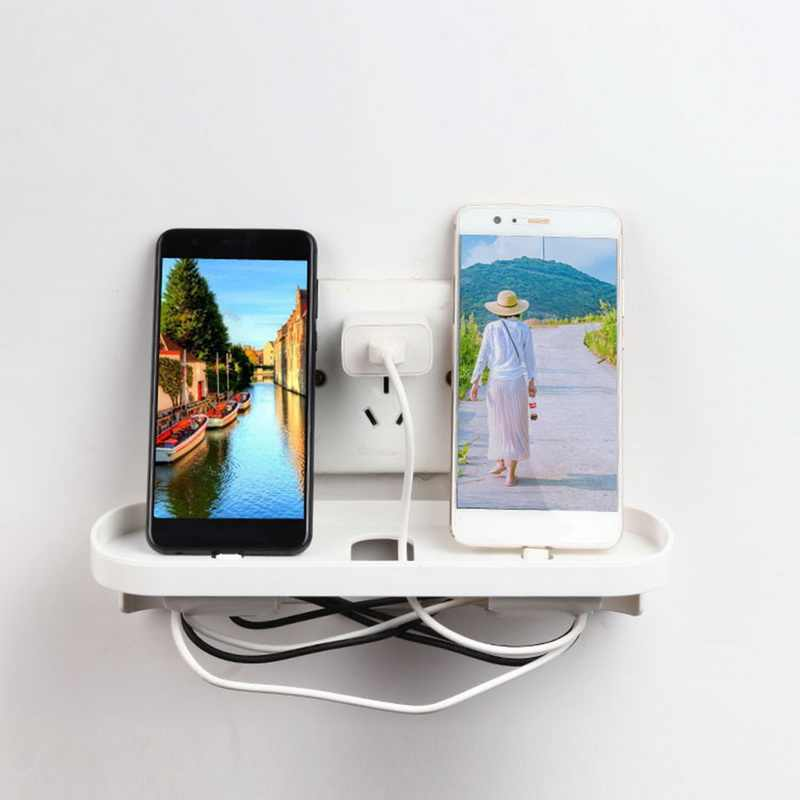 Socket Shelf Outlet Shelf Organizer Wall Mounted Shelf Plastic for Cell Phone Charge