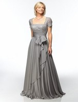 Silver Gray Lace Chiffon Modest Long Mother of the Bride Dresses Short Sleeves mothers dresses for wedding Evening