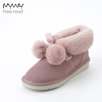 Winter Boots Fashion Cow Suede Leather Women Winter Ankle Snow Boots Short Winter Shoes No slip Sole