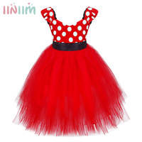 Minnie Mouse Style Flower Girl Dresses Red Rose Color Petal Dress Wedding Easter Bridesmaid For Baby