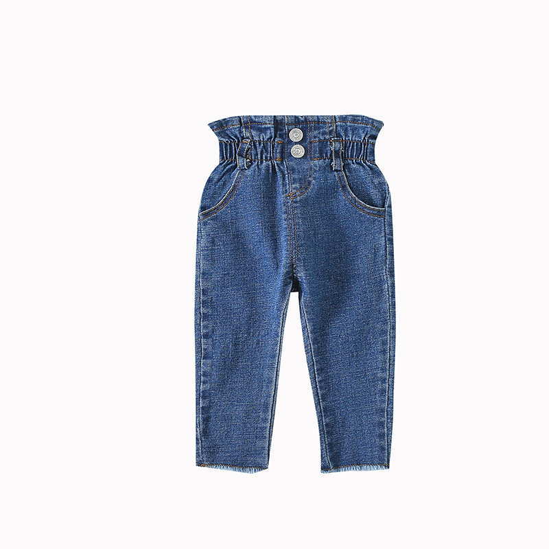 Kids Jeans Spring Autumn Baby Leisure Denim Trousers Toddler Solid Elastic Waist Pants