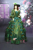 green sequins bead embroidery flower medieval dress Renaissance ball gown queen Victorian Gothic/Marie Antoinette/ Belle Ball
