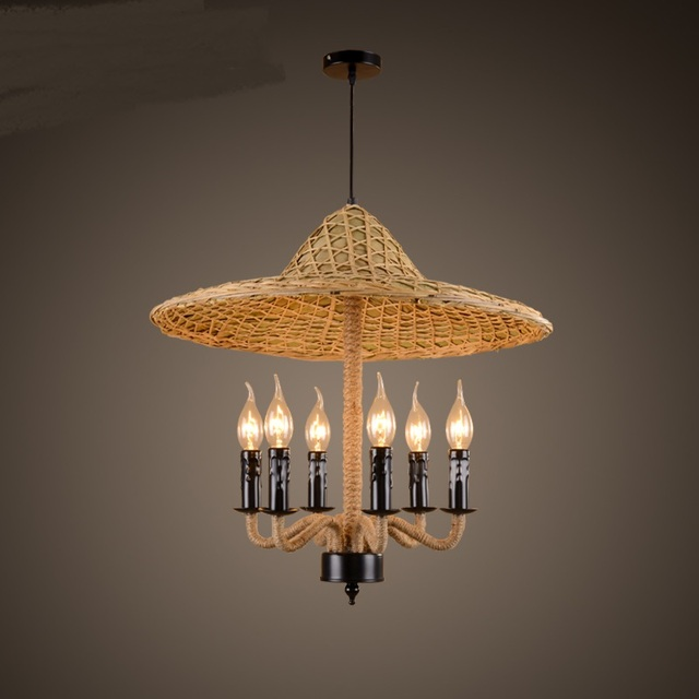 Retro Southeast China Hotpot Restaurant Chandeliers Farmhouse Hotel Coffee Bamboo Rope Cap Chandelier