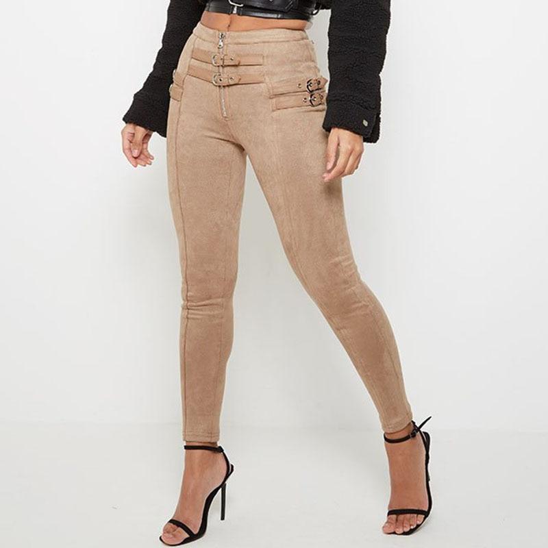 Kimuise High Waist Suede Leather Women's Pants Slim Belt Deco Trousers Autumn Winter Pencil Pants