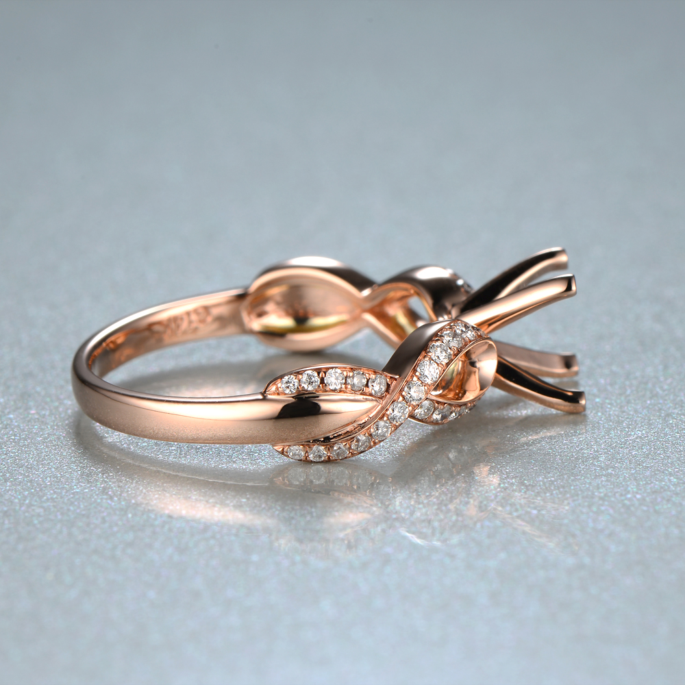Promotions Unique 7mm Round Shape 14K Rose Gold & 0.25ct Diamond Anniversary Semi Mount Setting Ring