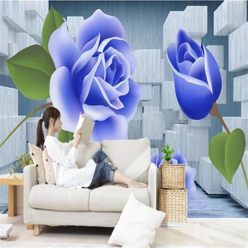 Custom Wallpaper 3D Stereoscopic Blue Roses Photo Wall Murals 3D White Squares Wallpapers Wall Papers for Living Room Home Decor custom continental ceiling murals living room bedroom embossed 3d wallpaper 3d stereoscopic 3d wallpaper peacock feathers zenith