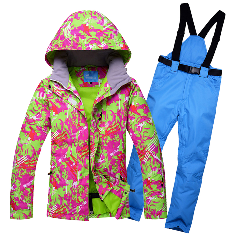 2018 Women Ski Suit Windproof Waterproof Outdoor Sport Wear Super Warm Winter Suit Skiing Snowboard Jacket Pant Female Suit Set le suit women s water lilies woven pant suit with scarf