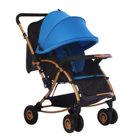 Baby stroller Pram Foldable Travel System Pushchair Stroller Buggy Infant carriage cradle blue For 0 36 Months