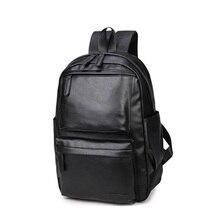 2017 Fashion Mens Backpack PU Leather Backpacks Male School Bags Laptop Man Black Waterproof Travel  LJ-0535