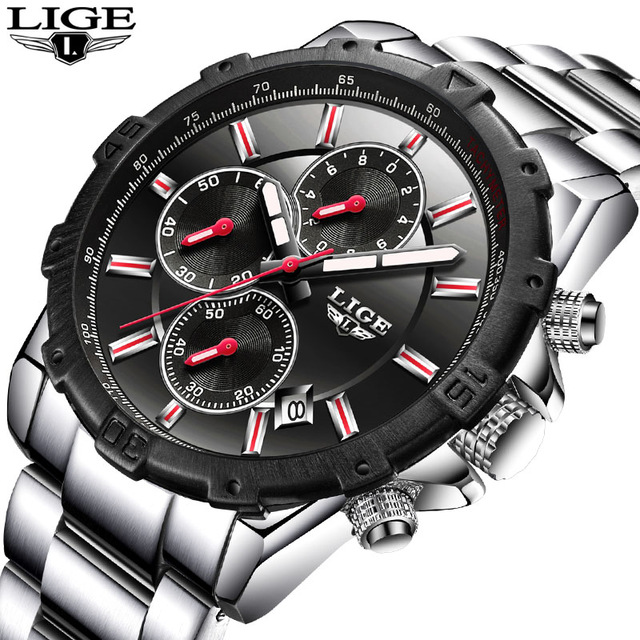 Relogio Masculino Lige Mens Watches Top Brand Luxury Business Quartz Watch Men Stainless Steel Casual Waterproof Sport Watch