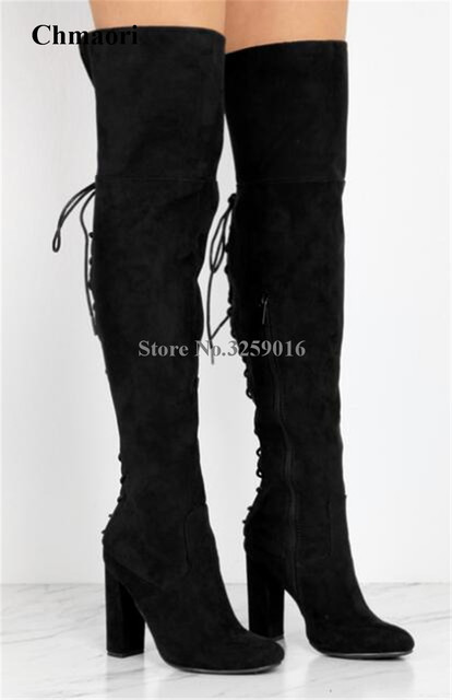b7976ae95209 Women Fashion Black Suede Leather Over Knee Chunky Heel Boots Back Lace-up  Cut-out Thigh High Thick High Heel Boots