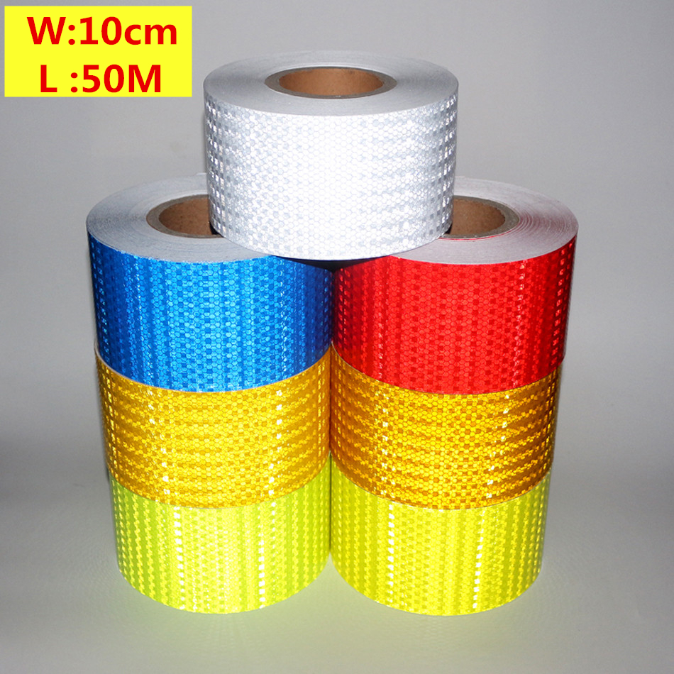 Free Shipping 10cmx50m Reflective Strips car-styling Safety Mark Auto Decoration Self Adhesive Warning Tape Car Body Stickers arrow pattern car body reflective warming mark sticker golden red silver 10 pcs
