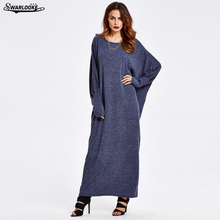 2017 Autumn New Women Fashion Robe O-Neck Casual Solid Long Batwing Sleeve Loose Elegant Dinner Party Lady Fall Muslim Dress