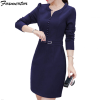 2017 New Women Autumn Dress Ladies Elegant Party Work Dress Solid Slim Long Sleeve Casual Work