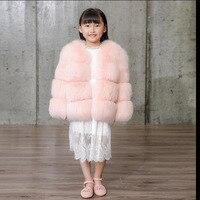 Мода 2017 детей натуральным лисьим Мех животных пальто детские зимние короткие теплые весь Мех животных пальто высокого качества лиса Мех жи