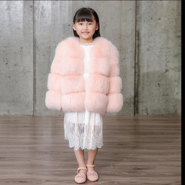 Fashion 2016 Children Real Fox Fur Coat Baby Winter Short Warm Whole Fur Coat  High-quality Fox Fur Clothes Kids Warm Coat C#05